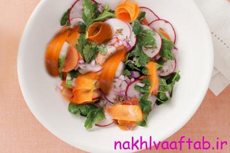 مواد لازم برای سالاد تربچه و هویج,طرز تهیه انواع سالاد