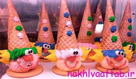 تزیین بستنی به شکل دلقک,تزیین بستنی برای کودکان