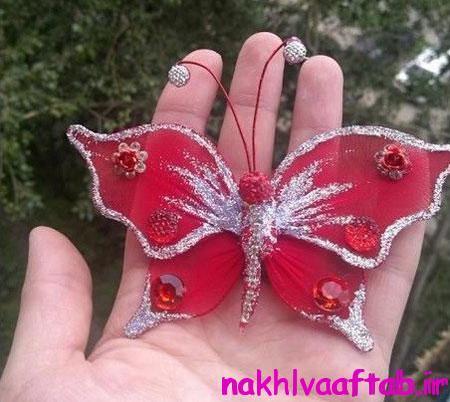 مراحل ساخت پروانه تزیینی,درست کردن پروانه پارچه ای