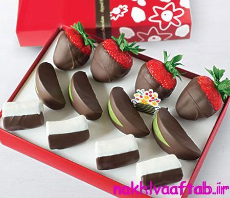 تزیین میوه برای جشن تولد,تزیین میوه با شکلات