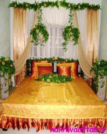 تزیین سرویس خواب عروس,تزیین تخت عروس,تزیین جهیزیه عروس
