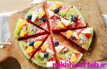 طرز تهیه پیتزا با هندوانه,تزیین میوه های شب چله