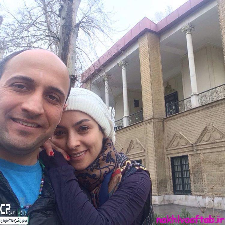 عکس شخصی علی سرابی با همسرش در زمستان 94